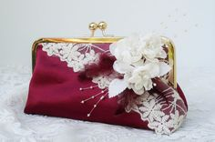 Cranberry Bridesmaid Clutch / Bridal Party Gift / Vintage Lace / Fall Wedding