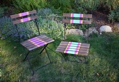 DIY Striped ChairsYou'll need: Glidden Exterior Paint (Minty Green, Juicy Cantaloupe, Blooming Fuchsia & Pink Salmon) a wooden folding chair, painter's tape, 3 paint brushes, a ruler & a pencil.