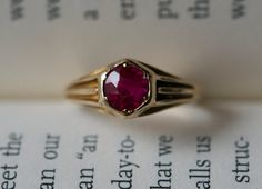 Antique rose gold ring from the 1930s era.  Set by AletheiasLair, $215.00