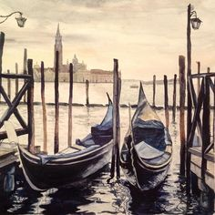 #waterblog #watercolor #watercolors #draw #drawing #art #artist #Италия #гондолы…