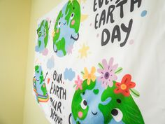 Go Green Earth Banner Tapestry Wall Hanging Recycle Eco Natural Dorm Bedroom Classroom School Decoration Art 54in x 34.5in