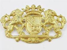 Vintage Miriam Haskell Gilt Double Lion Crown Key Shield Brooch Pin | eBay