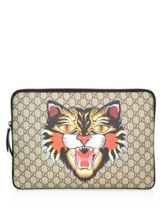 GUCCI Angry Cat-Print Gg Supreme Laptop Case. #gucci #case