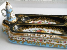 Porcelain Hand Painted Early 19th Century Inkstand In Floral Designs.   eBay
