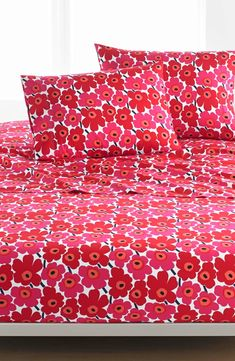 Marimekko Unikko 200 Thread Count Cotton Sheet Set, Size Twin X-Long - Red Flower Pattern Design, Flower Patterns, King Size Sheets, Bed Sheets, Cotton Sheet Sets, Marimekko, Anniversary Sale, Dream Decor
