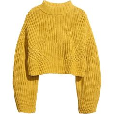 H&M Cropped jumper ($45) ❤ liked on Polyvore featuring tops, sweaters, jumpers, shirts, yellow, crop shirts, long jumper, crop top, cropped sweater and h&m sweater
