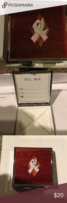 Pill Box Mahogany & Rosewood Wood Veneered Pill Box  I Hand inlayed the 4 cell pill box. Handmade by HM Simon Accessories