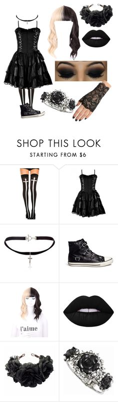 """""""Roleplay- Creepypasta"""" by blissfull-darkness ❤ liked on Polyvore featuring Chicnova Fashion, Yves Saint Laurent, Ash, Lime Crime, Rock 'N Rose and Hot Topic"""