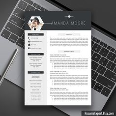 Professional Resume Template, CV Template, Cover letter, Word, Creative Modern Resume Design, Instant Digital Download, With Photo, Amanda M by ResumeExpert on Etsy https://www.etsy.com/ca/listing/231884472/professional-resume-template-cv-template