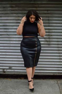 A quilted leather pencil skirt. | 15 Style Tips From Nadia Aboulhosn, Your New Fashion Inspiration