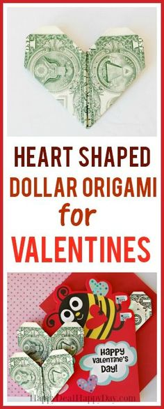 How To Make Heart Shaped Dollar Origami For Valentine's #dollarorigami #homemadevalentines #heartorigami #kidsvalentines