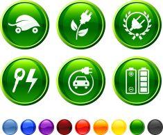 Electric Car royalty free vector icon set vector art illustration
