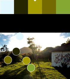 Verde claro y verde chillón(10): A69B02/84A832 Paleta y puntos de color