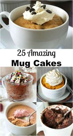 Dessert in Seconds! 25 Amazing Cakes in a Mug on willcookforsmiles… - Healthy Dessert Easy Mug Cake, Cake Mug, Coffee Cake, Mug Recipes, Baking Recipes, Dessert Recipes, Cup Desserts, Steak Recipes, Easy Desserts