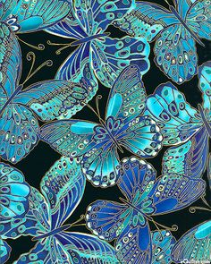 Shimmer - Jewel Box Butterflies - Black/Gold Metallic