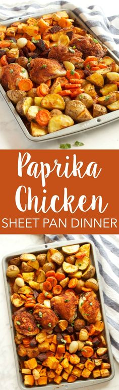 This Paprika Chicken Sheet Pan Dinner is an easy, healthy weeknight meal for the whole family that's on the table in 30 minutes or less! Recipe from thebusybaker.ca!