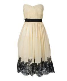 Love this Cream & Black Floral Sweetheart Strapless Dress on #zulily! #zulilyfinds