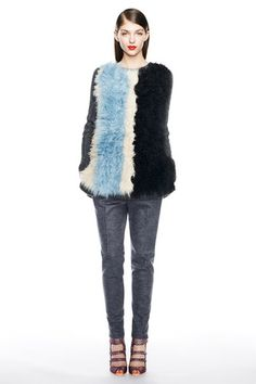 Fur vesty in blues over greys. Love for the weather and the workplace.  J.Crew Fall 2014 Ready-to-Wear Collection Slideshow on Style.com