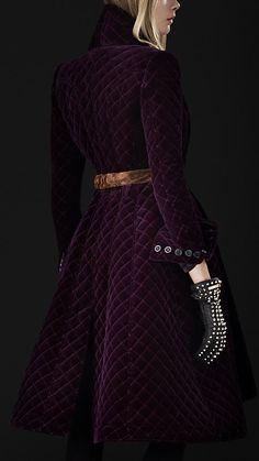 Purple Velvet Quilted Blanket Coat | Burberry Porsum
