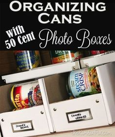 How to organize the cans in your pantry  with Ikea photo storage boxes, by cutting them down into 'dispenser style' organizers. Plus they are only 99 cents for 2 of them!  What a great hack!