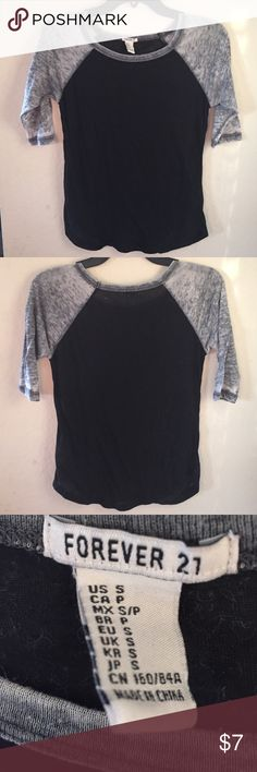 Forever 21 Baseball Tee Black & gray, has a worn feel to it (when I bought it, the tag said that the faded/worn feel over time was part of the design) Forever 21 Tops Tees - Short Sleeve