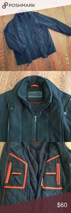 """Marc NY Dual Layer Jacket So cool!  Has fleece faux layer and quilted liner with cool orange accents and interior accessories pockets (3rd pic). This jacket is pristine and is VERY warm. Measures 31"""" from shoulder to hem and 26"""" armpit to armpit. Marc New York Jackets & Coats Performance Jackets"""