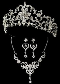 Royal Tiara and Heart Jewelry Set for your regal Quinceanera!