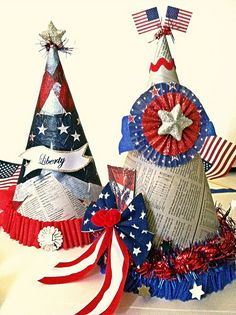 Patriotic Hats | Flickr - Photo Sharing!craft/ fourth of july. Handmade using dollar store finds.