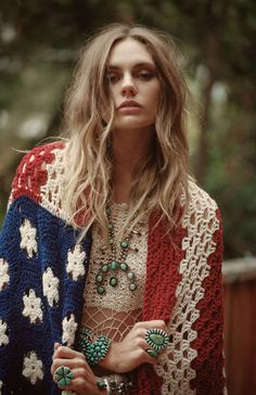 Red, White and Blue Bohemian crochet shawl and turquoise jewelry.