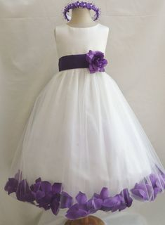 Flower Girl Dresses - IVORY with Purple Rose Petal Dress (FD0PT) - Wedding Easter Bridesmaid - For Baby Children Toddler Teen Girls
