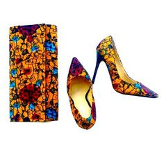 Sunflower African Print Shoes And Bag Set ,African Fabric Purse And Shoes Set…