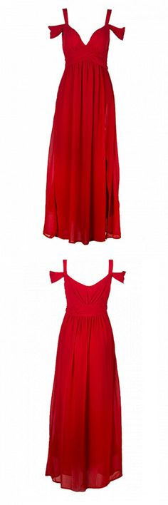 red ocassion maxi dress split high waist - for parties and occassions - for sale today!