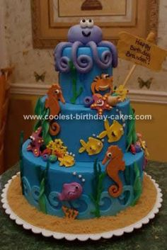 Homemade Ocean Birthday Cake Design: I decorated this Ocean Birthday Cake Design with the help of my new Cricut Cake Expression. I also handmade some of the decorations, like the octopus,