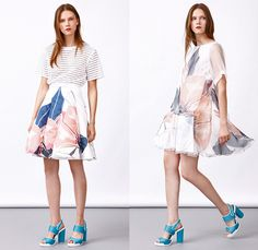 Co|te 2016 Resort Cruise Pre-Spring Womens Lookbook Presentation - Tomaso Anfossi and Francesco Ferrari - Denim Jeans 3D Flowers Florals Botanical Carp Fish Print Graphic Pattern Motif Blouse Sash Waist Sheer Chiffon Tulle Mesh Lace Lasercut Shirtdress Frock Steel Pattern Metal Sheet Sleeveless Embroidery Pants Trousers Outerwear Coat Jacket Pencil Skirt