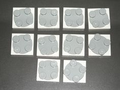 LEGO 10 White Turntable 2 x 2 Plates Complete Assembly Light Bluish Gray Tops #LEGO