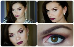 Red Accent Eye Makeup and Deep Purple Lips