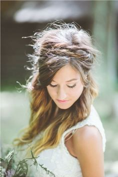messy half up half down wedding hairstyles with braid headband