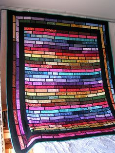 Stained Glass Quilt   Yes, pinning my finished quilt onto my inspiration board because I may very well make another one.