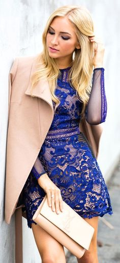 blue lace dress @roressclothes closet ideas women fashion outfit clothing style