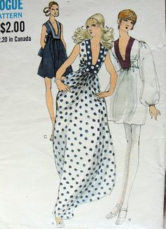 Womens Empire Waist Dress with Deep Plunge Neckline Mini or Maxi Vogue Sewing Pattern 7828 Size 16 Bust 38 Vintage Sewing Pattern Vintage Outfits, Vintage Gowns, Moda Vintage, Vintage Mode, Vogue Sewing Patterns, Clothing Patterns, 70s Fashion, Vintage Fashion, Fashion News