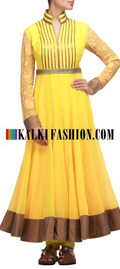 Buy Online from the link below. We ship worldwide (Free Shipping over US$100) http://www.kalkifashion.com/yellow-anarkali-suit-with-highlighter-yoke.html Yellow anarkali suit with highlighter yoke