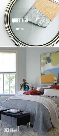 The easiest step in any DIY home makeover project is a fresh coat of paint. If you're searching for the perfect palette for your home, look no further than the newest BEHR Color of the Month: Quiet Time. This neutral gray hue brings a soothing and relaxed style into this master bedroom.