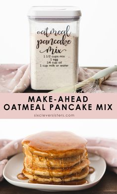 Make-Ahead Oatmeal Pancake Mix: fluffy oatmeal pancakes that can be made in minutes! DIY Oatmeal Pancake Mix makes 4 quarts! Healthy Pancake Mix, Diy Pancake Mix, Healthy Food, Healthy Eating, Make Ahead Oatmeal, Yummy Oatmeal, Quick Bread Recipes, Real Food Recipes, Oven Recipes