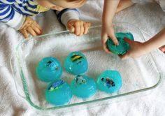 Sensory Play with Gelatin ~ let your toddler discover the hidden object!    Ingredients for gelatin play:  unflavored gelatin  (Optional:  Food Coloring/Frosting Creations Packet)    Source:http://www.funathomewithkids.com/2013/02/gelatin-play-infant-at-one-point-when-s.html