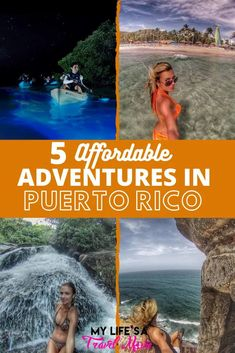 Here are 5 affordable adventures in Puerto Rico that you absolutely cannot miss! From the glowing bioluminescent bay in Vieques, to secret waterfalls in El Yunque Jungle! Puerto Rico is a place that's easy to navigate by road trip, or you can take a tour! Plus, Puerto Rico is part of the US so it's cheap to fly to, and easy to travel in! Travel Advice, Travel Ideas, Travel Guide, Usa Travel, Solo Travel, Latin America, South America, Bioluminescent Bay, Travel Movies