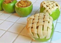 Apple pie in apples! Love it! Recipe:  ~APPLE PIE BAKED IN APPLE~  5-6 Granny Smith apples (make sure they can stand on their own)  1 tbsp. cinnamon  1/4 cup sugar  1 tbsp. brown sugar  pie crust (homemade or pre-made)  1) Preheat oven to 375F.  2) Cut off the top of 4 apples off and discard. Remove the inside of each apple with a spoon or melon baller very carefully, as to not puncture the peel.  If you're a skilled interior apple excavator, salvage as much as you can so you can use it for…