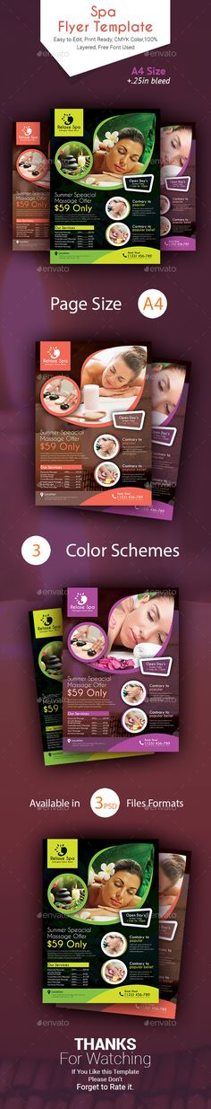 This Spa Massage Flyer Template created with Photoshop for the spa and massage industry. Can also be edited and used for the healthcare industry. All text, colors, images, fonts are user-friendly and very easy to customize. Business Design, Business Flyer, Spa Massage, Prenatal Massage, Spa Branding, Medical Spa, Flyer Layout, Corporate Brochure, Flyer Template