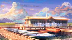Boat station sunset by arsenixc.deviantart.com on @deviantART