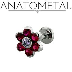 16ga Flat Back Labret with Threaded Flower in ASTM F-136 titanium: synthetic Garnet and synthetic Amethyst gemstones