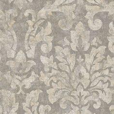 "12""/31cm Wallpaper SAMPLE Sophisticated Damask on Gray #Norwall"